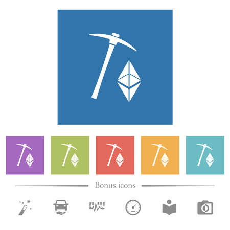 Ethereum classic cryptocurrency mining flat white icons in square backgrounds. 6 bonus icons included. Illusztráció
