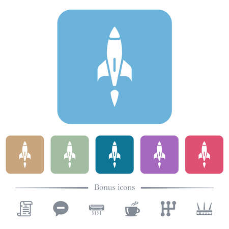 Rocket white flat icons on color rounded square backgrounds. 6 bonus icons included