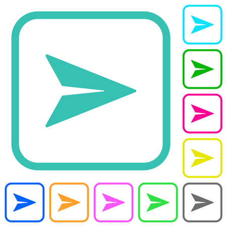 Send message solid vivid colored flat icons in curved borders on white background Illusztráció