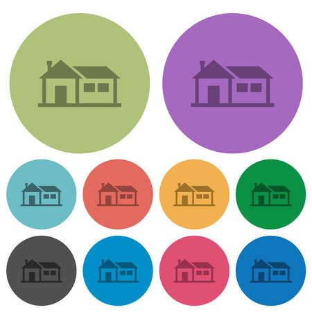 Family house darker flat icons on color round background