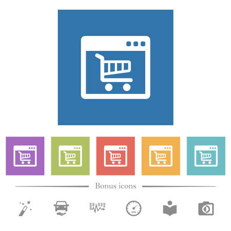 Webshop application flat white icons in square backgrounds. 6 bonus icons included.