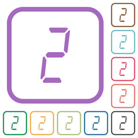 digital number two of seven segment type simple icons in color rounded square frames on white background