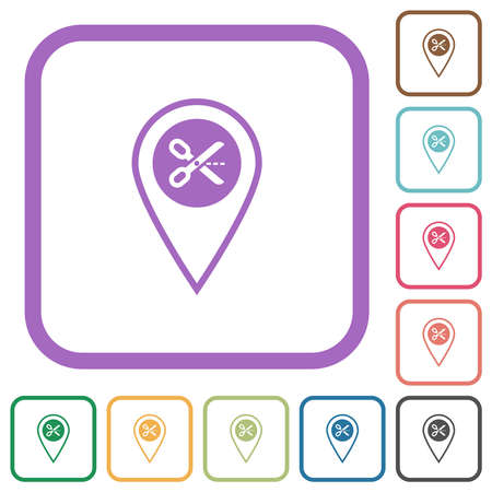 Cut GPS location simple icons in color rounded square frames on white background