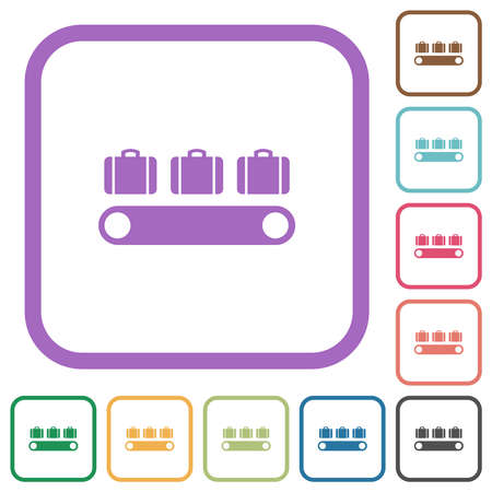 Luggage conveyor simple icons in color rounded square frames on white background