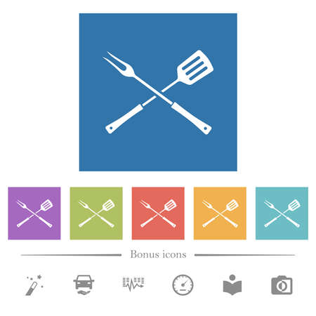 Barbecue fork and spatula in crossed position flat white icons in square backgrounds. 6 bonus icons included. Illusztráció
