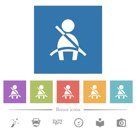 Car seat belt warning indicator flat white icons in square backgrounds. 6 bonus icons included.