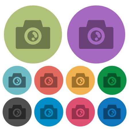 Camera solid darker flat icons on color round background Illusztráció