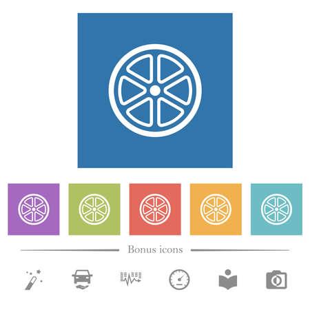 Lemon slice outline flat white icons in square backgrounds. 6 bonus icons included.
