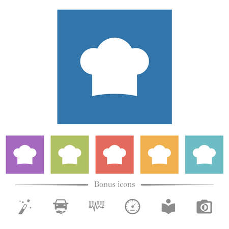 Chef hat flat white icons in square backgrounds. 6 bonus icons included.
