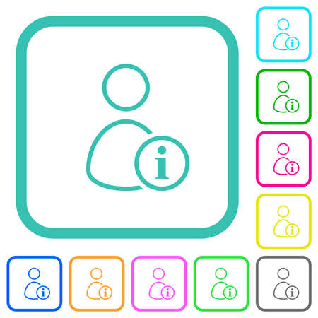 User info outline vivid colored flat icons in curved borders on white background Illusztráció