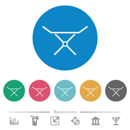 Collapsible clothes dryer rack flat white icons on round color backgrounds. 6 bonus icons included. Illusztráció