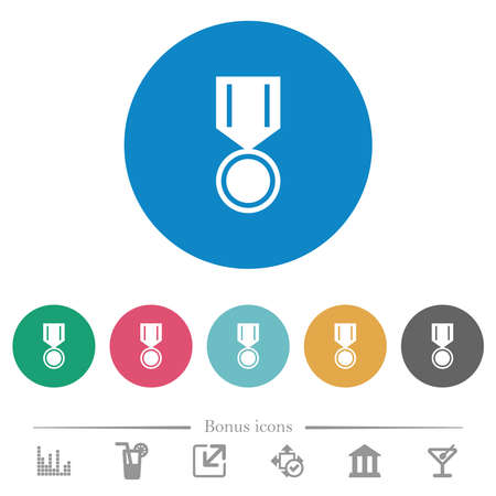 Medal flat white icons on round color backgrounds. 6 bonus icons included. Illusztráció