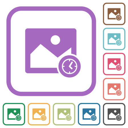 Image modified time simple icons in color rounded square frames on white background