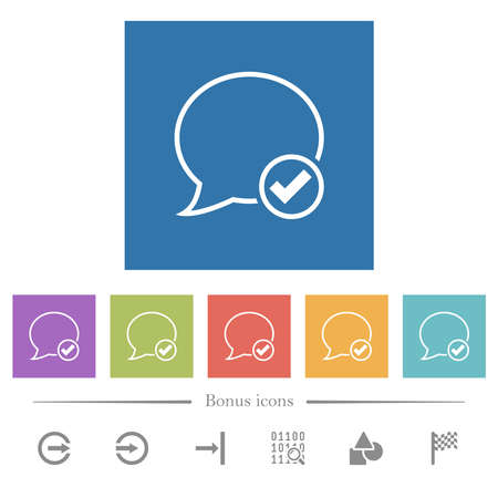 Apply message outline flat white icons in square backgrounds. 6 bonus icons included.