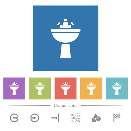 Sink flat white icons in square backgrounds. 6 bonus icons included.