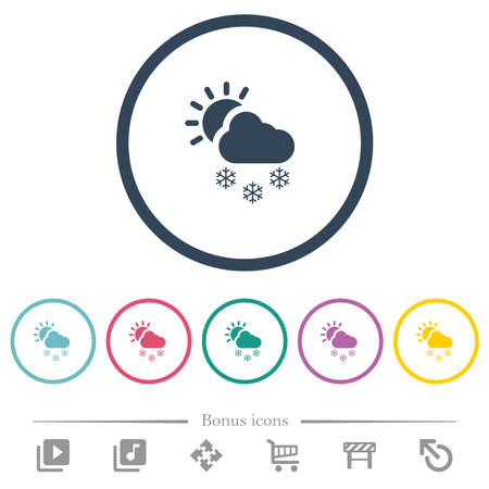 Sunny and snowy weather flat color icons in round outlines. 6 bonus icons included.