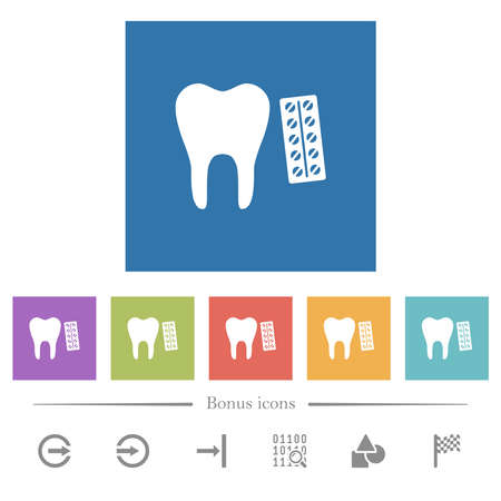 Dental medicine flat white icons in square backgrounds. 6 bonus icons included.