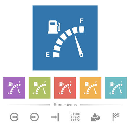 Fuel gauge flat white icons in square backgrounds. 6 bonus icons included.