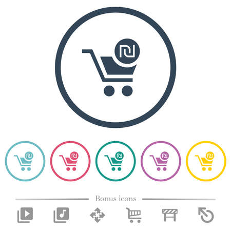 Checkout with new Shekel cart flat color icons in round outlines. 6 bonus icons included. Vectores