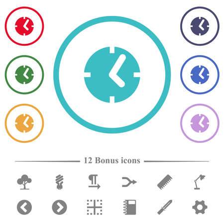Clock flat color icons in circle shape outlines. 12 bonus icons included.