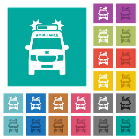 Flashing ambulance car front view multi colored flat icons on plain square backgrounds. Included white and darker icon variations for hover or active effects.