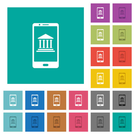 Mobile banking multi colored flat icons on plain square backgrounds. Included white and darker icon variations for hover or active effects.
