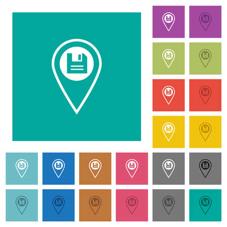 Save GPS location with multi colored flat icons on plain square backgrounds. Included white and darker icon variations for hover or active effects.