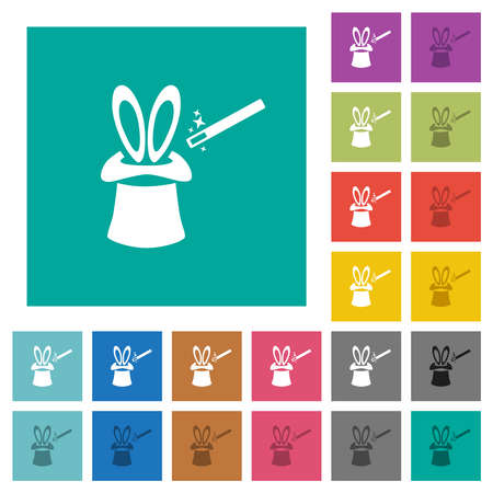 Magic hat with bunny ears multi colored flat icons on plain square backgrounds. Included white and darker icon variations for hover or active effects.