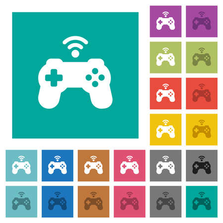 Wireless game controller multi colored flat icons on plain square backgrounds. Included white and darker icon variations for hover or active effects. Vectores
