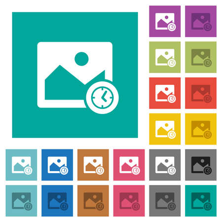 Image modified time multi colored flat icons on plain square backgrounds. Included white and darker icon variations for hover or active effects.