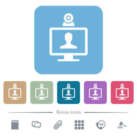 Video conference white flat icons on color rounded square backgrounds. 6 bonus icons included Vectores