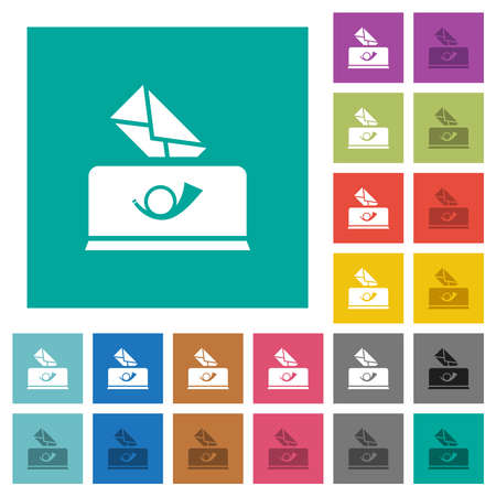 Sending mail solid multi colored flat icons on plain square backgrounds. Included white and darker icon variations for hover or active effects.