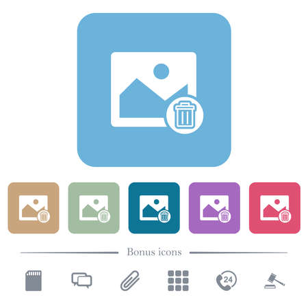 Delete image white flat icons on color rounded square backgrounds. 6 bonus icons included