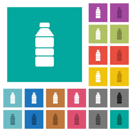 Water bottle multi colored flat icons on plain square backgrounds. Included white and darker icon variations for hover or active effects. Vectores