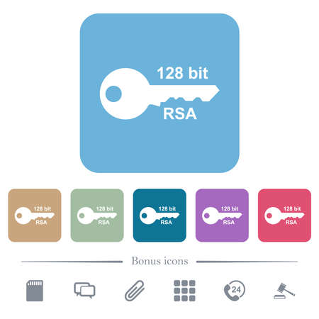 128 bit rsa encryption white flat icons on color rounded square backgrounds. 6 bonus icons included Vectores