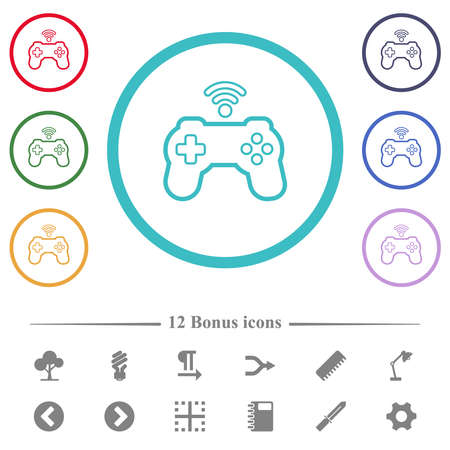 Wireless game controller outline flat color icons in circle shape outlines. 12 bonus icons included.
