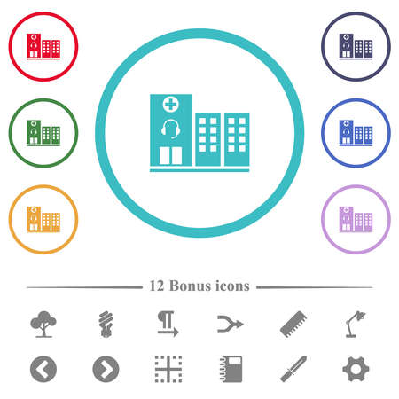 Medical assistance flat color icons in circle shape outlines. 12 bonus icons included.