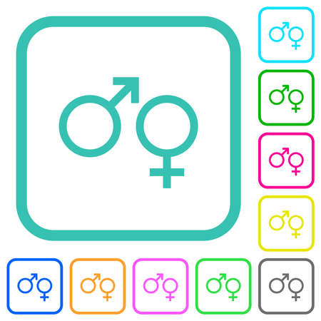 Male and felale gender symbols vivid colored flat icons in curved borders on white background