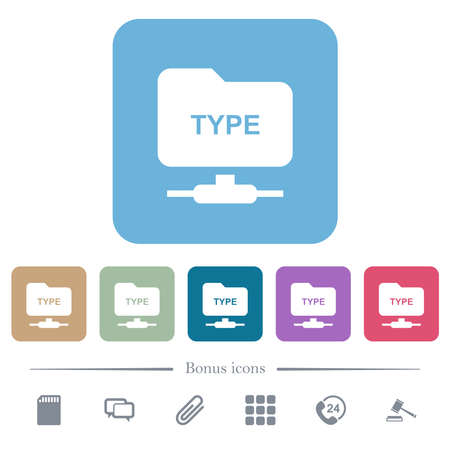 FTP enter passive mode white flat icons on color rounded square backgrounds. 6 bonus icons included Vectores