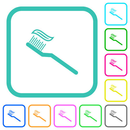 Toothbrush with toothpaste vivid colored flat icons in curved borders on white background Vectores