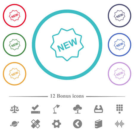 New badge outline flat color icons in circle shape outlines. 12 bonus icons included. Vektorové ilustrace