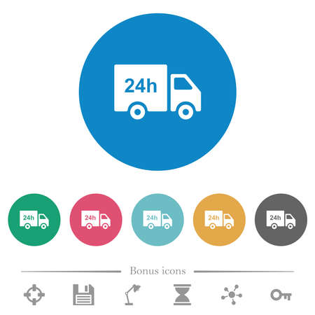 24 hour delivery truck flat white icons on round color backgrounds. 6 bonus icons included. Vektoros illusztráció