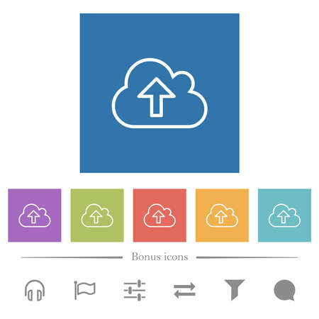 Cloud upload outline flat white icons in square backgrounds. 6 bonus icons included. Ilustración de vector