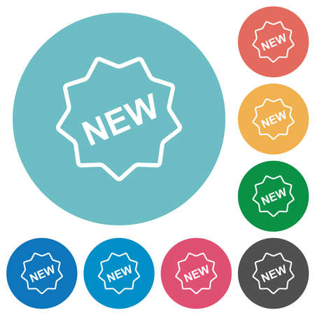 New badge outline flat white icons on round color backgrounds