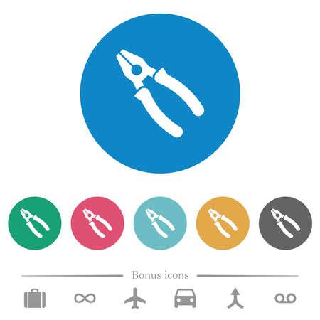 Combined pliers flat white icons on round color backgrounds. 6 bonus icons included. Vektoros illusztráció