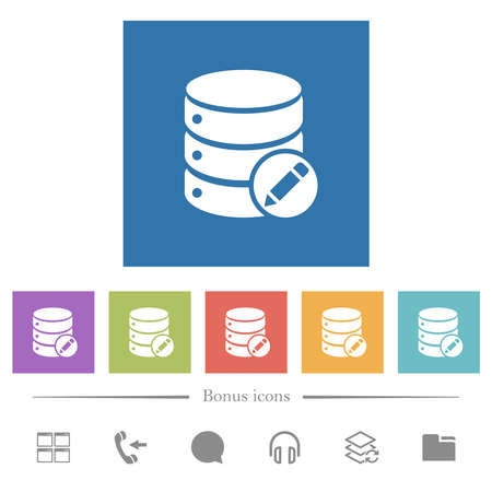Database edit flat white icons in square backgrounds. 6 bonus icons included.