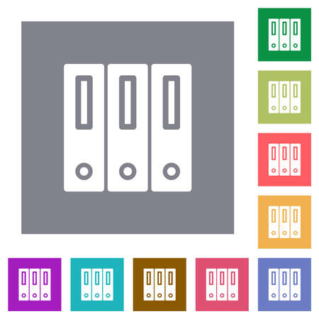 Binders solid flat icons on simple color square backgrounds