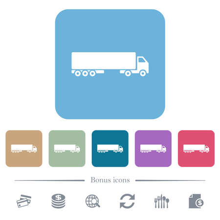 Camion side view white flat icons on color rounded square backgrounds. 6 bonus icons included Ilustración de vector