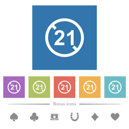 Not allowed under 21 flat white icons in square backgrounds. 6 bonus icons included.