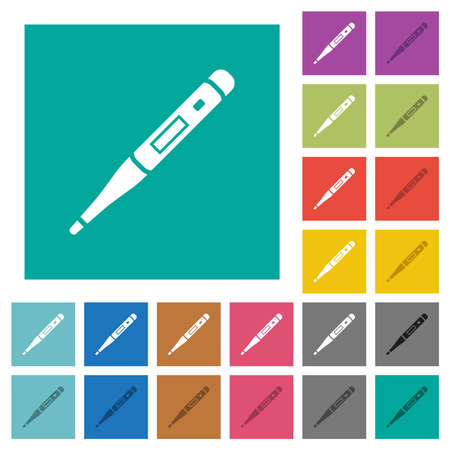 Digital thermometer multi colored flat icons on plain square backgrounds. Included white and darker icon variations for hover or active effects.